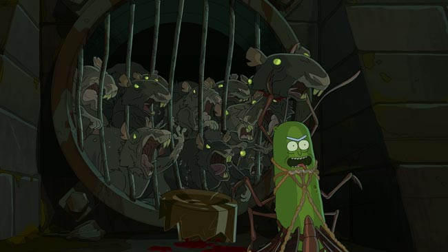 Rick and Morty Pickle Rick bug suit rats