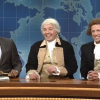 SNL Weekend Update Michael Che Jimmy Fallon as George Washington Seth Meyers as Thomas Jefferson