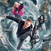 Sharknado 5 poster Tara as Reid April robot superhero, Cassie Scerbo as Nova, Ian Ziering as Fin