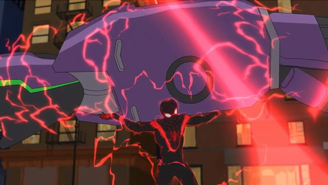Disney XD Ultimate Spider-Man Miles Morales Venom blasts Spider Slayer