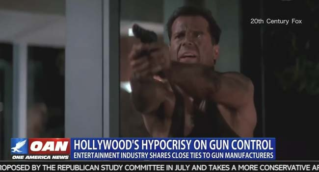 OAN One America News Hollywood gun control Las Vegas Die Hard Bruce Willis