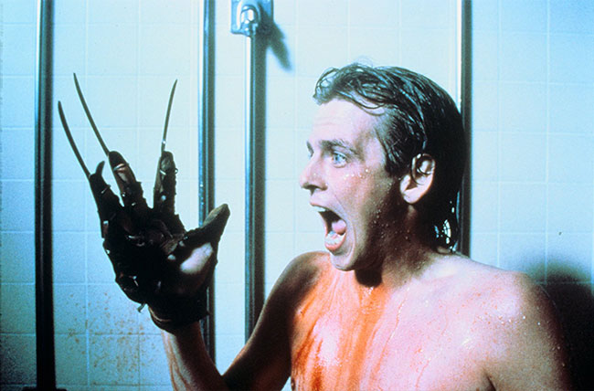 Nightmare on Elm Street 2 Freddy's Revenge Mark Patton as Jesse Walsh shower glove scream