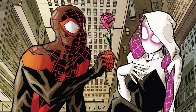 Spider-Gwen 16 cover Spider-Man Miles Morales Gwen Stacy