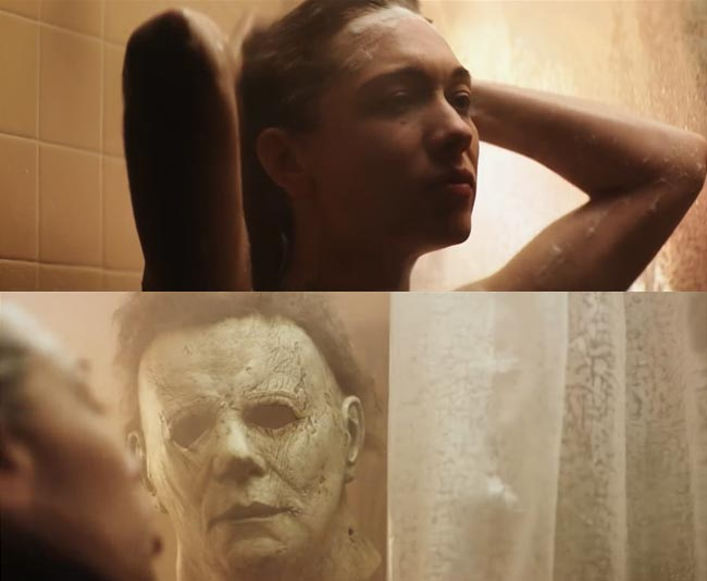 Halloween 2018 Shower scene Dana Haines (Rhian Rees) Michael Myers