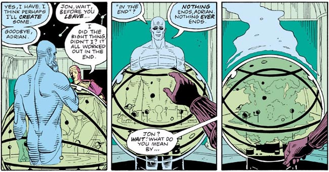 Watchmen comic Ozymandias Dr. Manhattan nothing ends