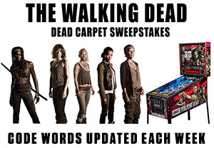 The Walking Dead Dead Carpet Sweepstakes code words